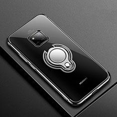 Custodia Silicone Trasparente Ultra Slim Cover Morbida con Magnetico Anello Supporto S01 per Huawei Mate 20 Pro Nero