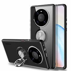 Custodia Silicone Trasparente Ultra Slim Cover Morbida con Magnetico Anello Supporto S01 per Huawei Mate 40 Nero
