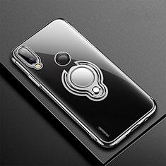 Custodia Silicone Trasparente Ultra Slim Cover Morbida con Magnetico Anello Supporto S01 per Huawei P20 Lite Nero
