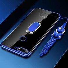 Custodia Silicone Trasparente Ultra Slim Cover Morbida con Magnetico Anello Supporto S01 per Huawei Y6 (2018) Blu