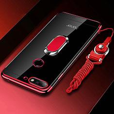 Custodia Silicone Trasparente Ultra Slim Cover Morbida con Magnetico Anello Supporto S01 per Huawei Y6 (2018) Rosso