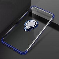 Custodia Silicone Trasparente Ultra Slim Cover Morbida con Magnetico Anello Supporto S01 per Oppo A71 Blu