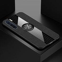 Custodia Silicone Trasparente Ultra Slim Cover Morbida con Magnetico Anello Supporto S01 per Oppo A91 Nero