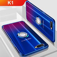 Custodia Silicone Trasparente Ultra Slim Cover Morbida con Magnetico Anello Supporto S01 per Oppo K1 Blu