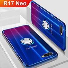 Custodia Silicone Trasparente Ultra Slim Cover Morbida con Magnetico Anello Supporto S01 per Oppo R17 Neo Blu