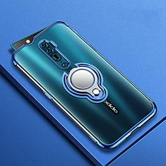 Custodia Silicone Trasparente Ultra Slim Cover Morbida con Magnetico Anello Supporto S01 per Oppo Reno 10X Zoom Blu