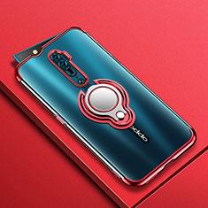 Custodia Silicone Trasparente Ultra Slim Cover Morbida con Magnetico Anello Supporto S01 per Oppo Reno 10X Zoom Rosso