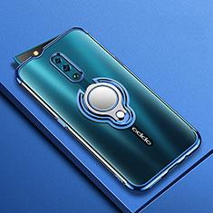 Custodia Silicone Trasparente Ultra Slim Cover Morbida con Magnetico Anello Supporto S01 per Oppo Reno Blu
