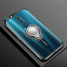 Custodia Silicone Trasparente Ultra Slim Cover Morbida con Magnetico Anello Supporto S01 per Oppo Reno Nero