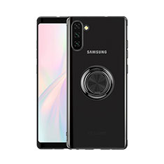 Custodia Silicone Trasparente Ultra Slim Cover Morbida con Magnetico Anello Supporto S01 per Samsung Galaxy Note 10 5G Nero