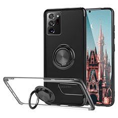 Custodia Silicone Trasparente Ultra Slim Cover Morbida con Magnetico Anello Supporto S01 per Samsung Galaxy Note 20 Ultra 5G Nero