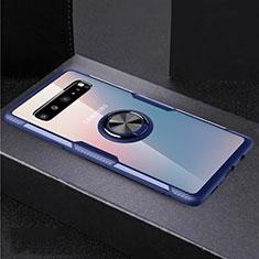 Custodia Silicone Trasparente Ultra Slim Cover Morbida con Magnetico Anello Supporto S01 per Samsung Galaxy S10 5G SM-G977B Blu e Nero