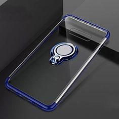 Custodia Silicone Trasparente Ultra Slim Cover Morbida con Magnetico Anello Supporto S01 per Samsung Galaxy S10 Plus Blu