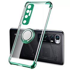 Custodia Silicone Trasparente Ultra Slim Cover Morbida con Magnetico Anello Supporto S01 per Xiaomi Mi 10 Ultra Verde