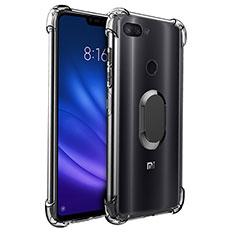 Custodia Silicone Trasparente Ultra Slim Cover Morbida con Magnetico Anello Supporto S01 per Xiaomi Mi 8 Lite Nero