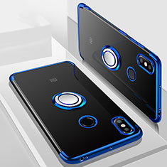 Custodia Silicone Trasparente Ultra Slim Cover Morbida con Magnetico Anello Supporto S01 per Xiaomi Mi Max 3 Blu