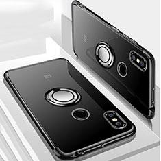 Custodia Silicone Trasparente Ultra Slim Cover Morbida con Magnetico Anello Supporto S01 per Xiaomi Mi Max 3 Nero
