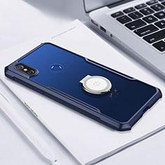 Custodia Silicone Trasparente Ultra Slim Cover Morbida con Magnetico Anello Supporto S01 per Xiaomi Mi Mix 3 Blu