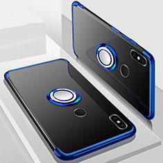 Custodia Silicone Trasparente Ultra Slim Cover Morbida con Magnetico Anello Supporto S01 per Xiaomi Redmi 6 Pro Blu