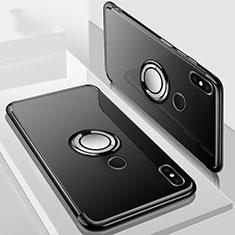 Custodia Silicone Trasparente Ultra Slim Cover Morbida con Magnetico Anello Supporto S01 per Xiaomi Redmi 6 Pro Nero