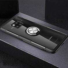 Custodia Silicone Trasparente Ultra Slim Cover Morbida con Magnetico Anello Supporto S02 per Huawei Mate 20 Pro Multicolore