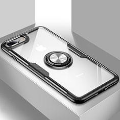 Custodia Silicone Trasparente Ultra Slim Cover Morbida con Supporto S01 per Apple iPhone 7 Plus Nero
