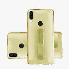 Custodia Silicone Trasparente Ultra Slim Cover Morbida con Supporto S01 per Huawei P20 Lite Oro