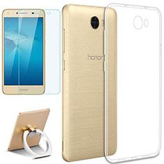 Custodia Silicone Trasparente Ultra Slim Morbida con Anello Supporto e Pellicola Protettiva per Huawei Honor Play 5 Chiaro