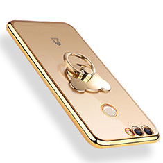 Custodia Silicone Trasparente Ultra Slim Morbida con Anello Supporto per Huawei Enjoy 8 Plus Oro