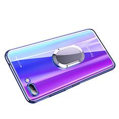 Custodia Silicone Trasparente Ultra Slim Morbida con Anello Supporto per Huawei Honor 10 Blu