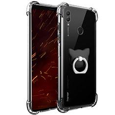 Custodia Silicone Trasparente Ultra Slim Morbida con Anello Supporto per Huawei Honor Note 10 Chiaro