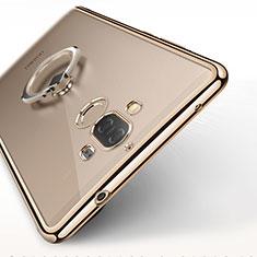Custodia Silicone Trasparente Ultra Slim Morbida con Anello Supporto per Huawei Mate 9 Oro