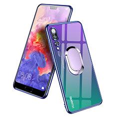 Custodia Silicone Trasparente Ultra Slim Morbida con Anello Supporto per Huawei P20 Pro Blu