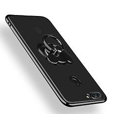 Custodia Silicone Trasparente Ultra Slim Morbida con Anello Supporto per Huawei Y9 (2018) Chiaro