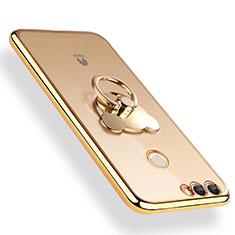 Custodia Silicone Trasparente Ultra Slim Morbida con Anello Supporto per Huawei Y9 (2018) Oro