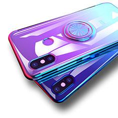Custodia Silicone Trasparente Ultra Slim Morbida con Anello Supporto per Xiaomi Mi 8 Blu