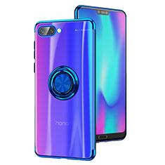 Custodia Silicone Trasparente Ultra Slim Morbida con Anello Supporto S01 per Huawei Honor 10 Blu