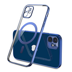Custodia Silicone Trasparente Ultra Slim Morbida con Mag-Safe Magnetic M01 per Apple iPhone 12 Blu