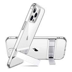Custodia Silicone Trasparente Ultra Slim Morbida con Supporto per Apple iPhone 12 Pro Max Rosso