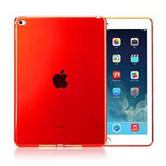 Custodia Silicone Trasparente Ultra Slim Morbida per Apple iPad Air 2 Rosso