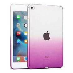 Custodia Silicone Trasparente Ultra Slim Morbida per Apple iPad Mini 4 Viola