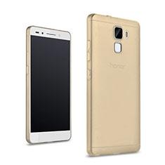 Custodia Silicone Trasparente Ultra Slim Morbida per Huawei Honor 7 Dual SIM Oro
