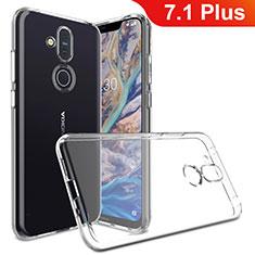 Custodia Silicone Trasparente Ultra Slim Morbida per Nokia 7.1 Plus Chiaro