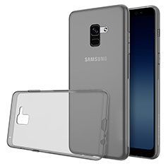 Custodia Silicone Trasparente Ultra Slim Morbida per Samsung Galaxy A8 (2018) Duos A530F Grigio