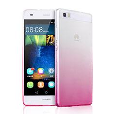 Custodia Silicone Trasparente Ultra Slim Morbida Sfumato per Huawei P8 Lite Rosa