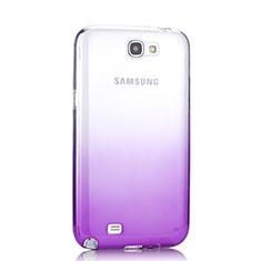 Custodia Silicone Trasparente Ultra Slim Morbida Sfumato per Samsung Galaxy Note 2 N7100 N7105 Viola