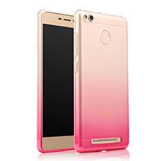 Custodia Silicone Trasparente Ultra Slim Morbida Sfumato per Xiaomi Redmi 3 Pro Rosa