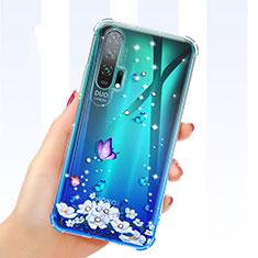 Custodia Silicone Trasparente Ultra Sottile Cover Fiori K01 per Huawei Honor 20 Pro Blu