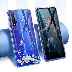 Custodia Silicone Trasparente Ultra Sottile Cover Fiori per Huawei Honor 20 Blu