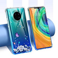 Custodia Silicone Trasparente Ultra Sottile Cover Fiori per Huawei Mate 30 Blu